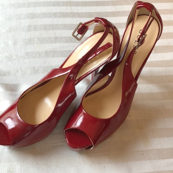 b37ffb67661 Guess Red Patent Leather Platform heels